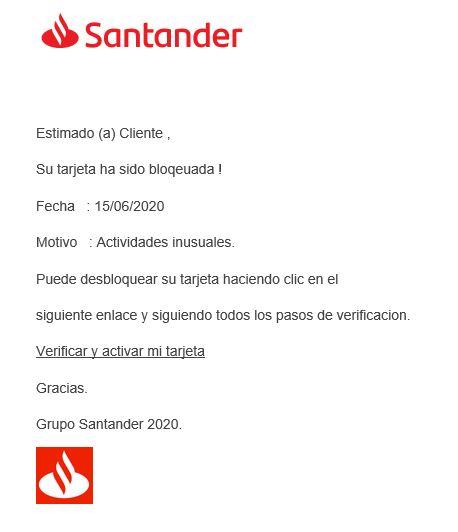 spam tarjeta banco santanader